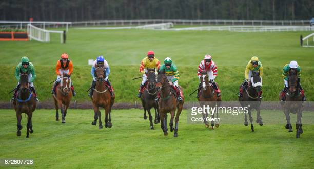 Kildare Ireland 25 April 2017 A general view of the field including eventual winner Enniskillen third from left with Jamie Codd up during the Kildare...