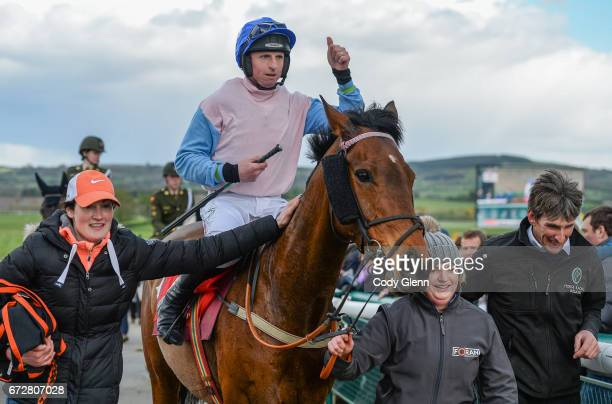 Kildare Ireland 25 April 2017 Jamie Codd celebrates after winning the Kildare Hunt Club Fr Sean Breen Memorial Steeplechase for the Ladies Perpetual...
