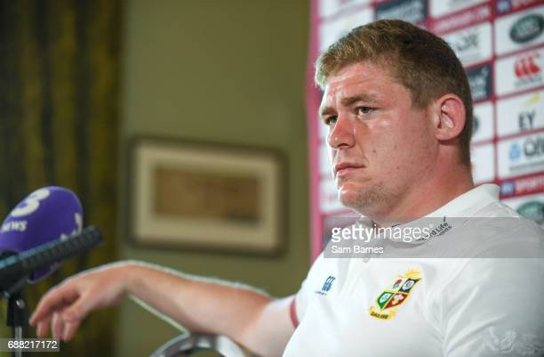 Kildare Ireland 25 May 2017 Tadgh Furlong of British and Irish Lions speaking during a press conference at Carton House in Maynooth Co Kildare