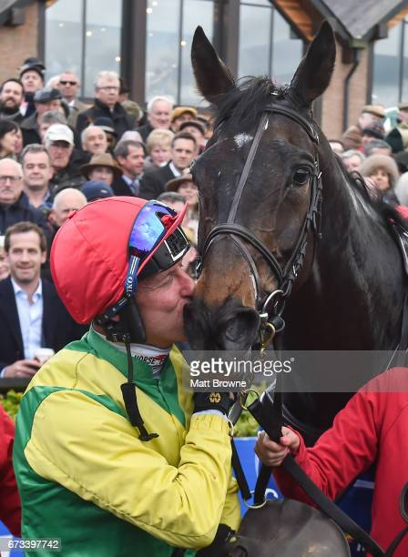 Kildare Ireland 26 April 2017 Robbie Power kisses Sizing John after winning the Coral Punchestown Gold Cup at Punchestown Racecourse in Naas Co...