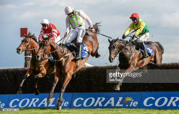 Kildare Ireland 26 April 2017 Sizing John right with Robbie Power up jump the last alongside Djakadam centre with Ruby Walsh up who finished second...