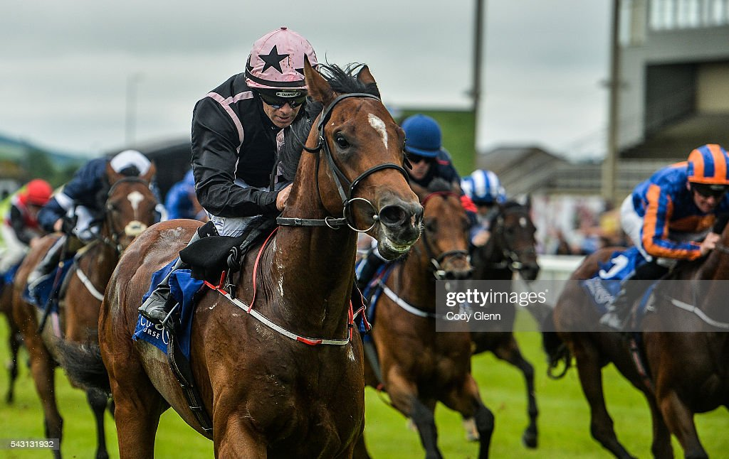 Kildare , Ireland - 26 June 2016; Alexios Komnenos, with Wayne Lordan up on their way to winning the Barronstown Stud European Breeders Fund Maiden at the Curragh Racecourse in the Curragh, Co. Kildare.