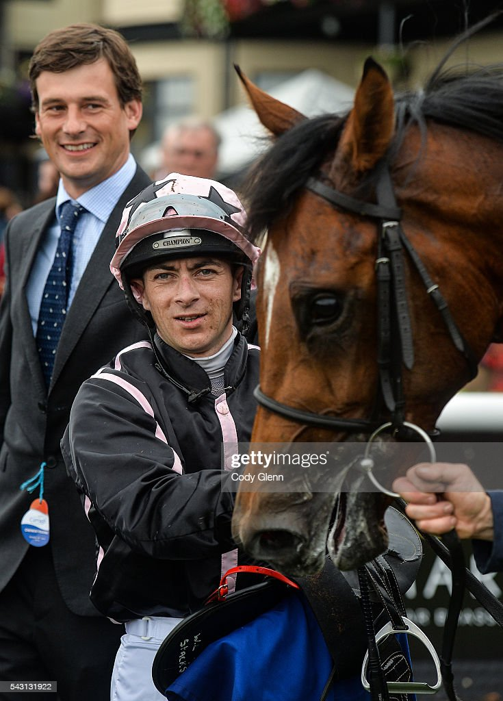 Kildare , Ireland - 26 June 2016; Jockey Wayne Lordan alongside trainer Fuzzy Stacks with Alexios Komnenos after winning the Barronstown Stud European Breeders Fund Maiden at the Curragh Racecourse in the Curragh, Co. Kildare.