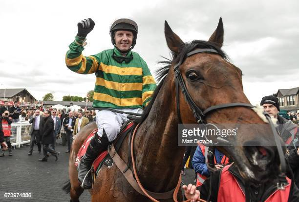 Kildare Ireland 27 April 2017 Noel Fehily on Unowhatimeanharry after winning the Ladbrokes Champion Stayers Hurdle at Punchestown Racecourse in Naas...