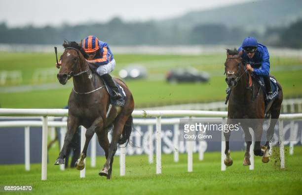 Kildare Ireland 27 May 2017 Churchill with Ryan Moore up on their way to winning the Tattersalls Irish 2000 Guineas ahead of Thunder Snow with...
