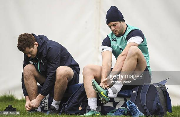 Kildare Ireland 31 January 2017 Paddy Jackson left and Robbie Henshaw of Ireland during squad training at Carton House in Maynooth Co Kildare