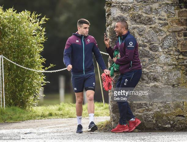 Kildare Ireland 6 March 2017 Conor Murray left and Simon Zebo of Ireland prior to squad training at Carton House in Maynooth Co Kildare