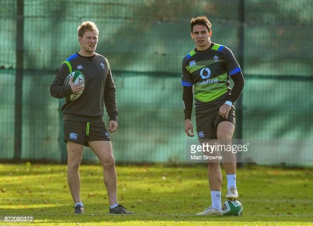 Kildare Ireland 9 November 2017 Joey Carbery and Kieran Marmion during Ireland squad training at Carton House in Maynooth Kildare
