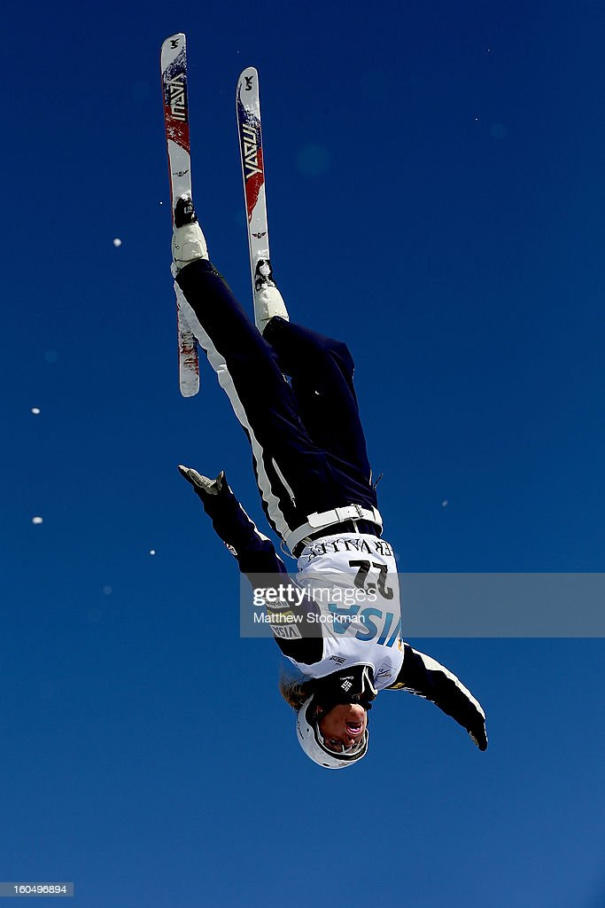 Kiley McKinnon #22 jumps while training for the Ladies Aerials during the Visa Freestyle International at Deer Valley on February 1, 2013 in Park City, Utah.