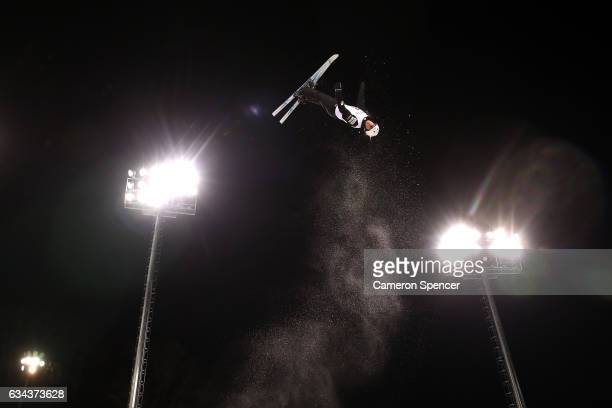 Kiley McKinnon of the United States performs an aerial during Aerials training prior to the FIS Freestyle World Cup at Bokwang Snow Park on February...