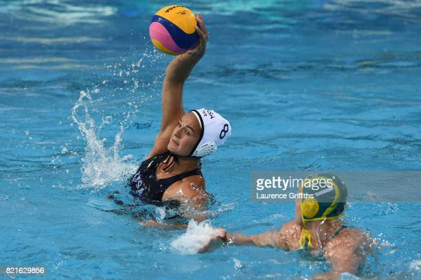 Kiley Neushul of The United States shoots during the Women's Water Polo Quarter final against Australia on day eleven of the Budapest 2017 FINA World...