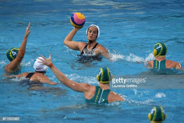 Kiley Neusul of The United States competes during the Women's Water Polo Quarterfinal on day eleven of the Budapest 2017 FINA World Championships on...