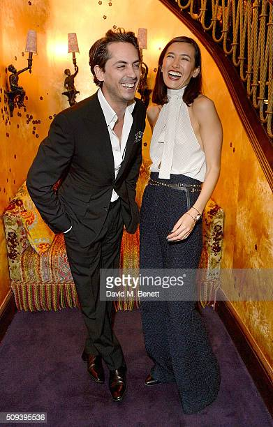Kilian Hennessy and Hikari Yokoyama attend the Kilian Boutique Launch Party at Loulou's on February 10 2016 in London England