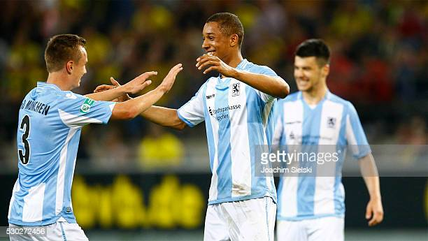 Kilian Jakob and Ohis Felix Uduokhai of Muenchen celebrate after the German U19 Championship Semi Final First Leg match between Borussia Dortmund U19...