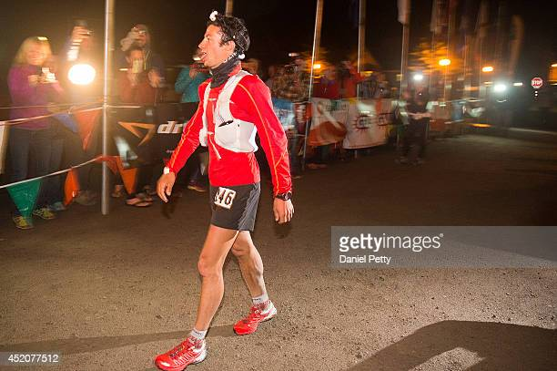 Kilian Jornet crosses the finish line at the 1005mile Hardrock 100 Endurance Run on July 12 in the San Juan Mountains in Silverton Colorado Jornet...