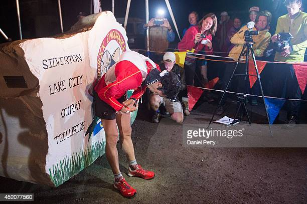 Kilian Jornet leans over after finishing the 1005mile Hardrock 100 Endurance Run on July 12 in the San Juan Mountains in Silverton Colorado Jornet...