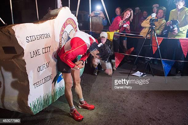 Kilian Jornet leans over after finishing the 1005mile Hardrock 100 Endurance Run on July 12 in the San Juan Mountains in Silverton Colorado Jornet...