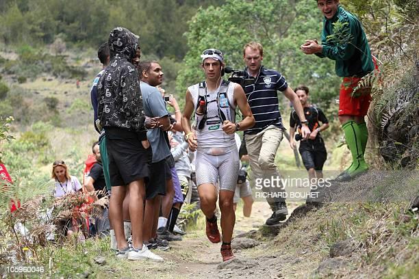 Kilian Jornet of Spain competes in the 'Grand Raid' also called La diagonale des fous on October 22 near SaintDenis de la Reunion on the French...