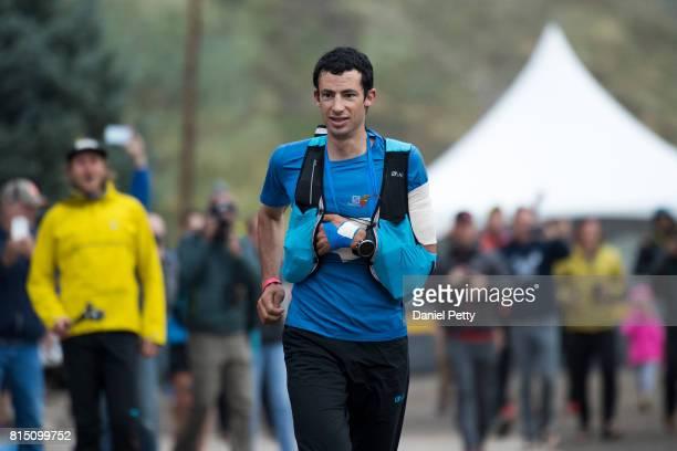 Kilian Jornet of Spain runs to the finish of the Hardrock 100 endurance run through the San Juan Mountains on July 15 in Silverton Colorado Jornet...