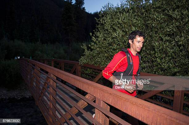 Kilian Jornet races during the Hardrock 100 ultra distance run through the San Juan Mountains on July 15 in Silverton Colorado The 1005mile loop...
