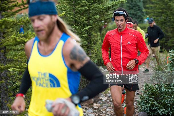 Kilian Jornet races during the second mile of the Hardrock 100 Endurance Run in the San Juan Mountains on July 11 in Silverton Colorado