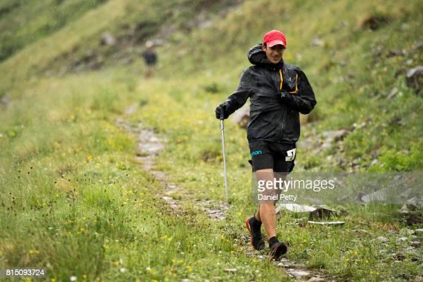 Kilian Jornet runs down to the Grouse Gulch aid station during the Hardrock 100 endurance run through the San Juan Mountains on July 14 near...