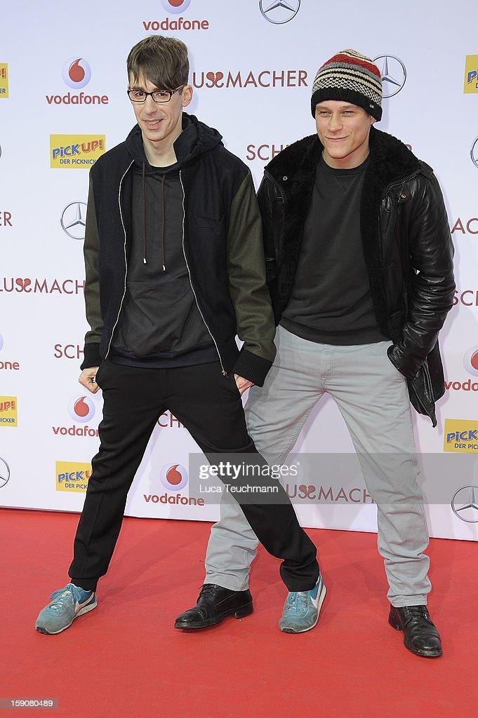 Kilian Kerner and Vincent Kiefer attend the 'Der Schlussmacher' Berlin Premiere at Cinestar Potsdamer Platz on January 7, 2013 in Berlin, Germany.