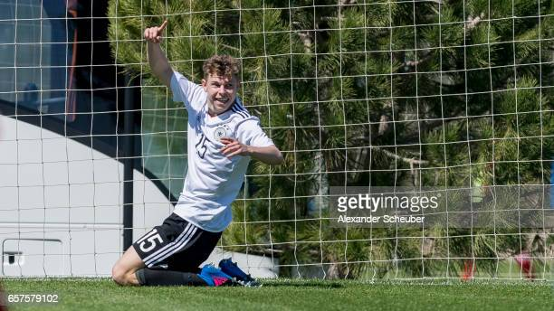 Kilian Ludewig of Germany celebrates the first goal for his team during the UEFA U17 elite round match between Germany and Finland on March 25 2017...