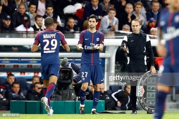 Kilian Mbappe of Paris Saint Germain and Javier Pastore of Paris Saint Germain during the Ligue 1 match between Paris Saint Germain and OGC Nice at...