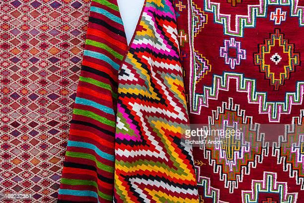 Kilims displayed outside shop in Sidi Bou Said