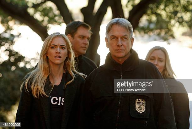 'Kill Chain' NCIS on the CBS Television Network Pictured left to right Emily Wickersham Michael Weatherly Mark Harmon and Susanna Thompson
