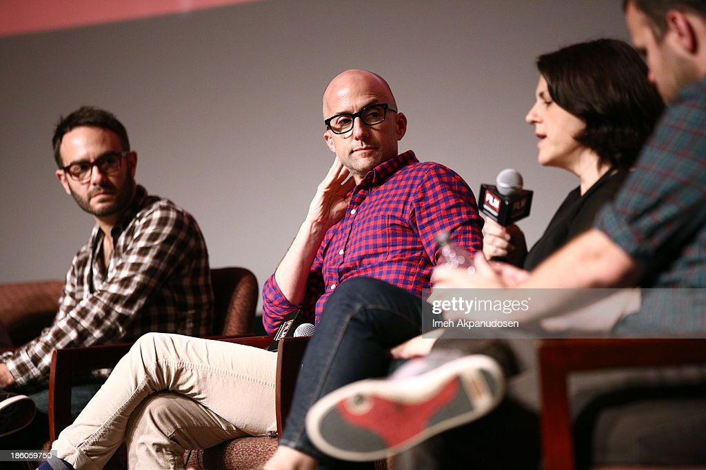 'Kill Your Darlings' writer/director/producer <a gi-track='captionPersonalityLinkClicked' href=/galleries/search?phrase=John+Krokidas&family=editorial&specificpeople=10125419 ng-click='$event.stopPropagation()'>John Krokidas</a>, 'The Way, Way Back' co-writer and co-director <a gi-track='captionPersonalityLinkClicked' href=/galleries/search?phrase=Jim+Rash&family=editorial&specificpeople=742689 ng-click='$event.stopPropagation()'>Jim Rash</a>, 'Concussion' writer/director <a gi-track='captionPersonalityLinkClicked' href=/galleries/search?phrase=Stacie+Passon&family=editorial&specificpeople=10014901 ng-click='$event.stopPropagation()'>Stacie Passon</a> and 'C.O.G.' director Kyle Patrick Alvarez sit onstage during a panel at the Film Independent Forum at the DGA Theater on October 27, 2013 in Los Angeles, California.
