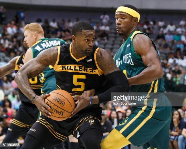 Killer 3s guard Stephen Jackson makes a move as Ball Hogs guard Derrick Byars defends during the Big3 basketball game between the Ball Hogs and...