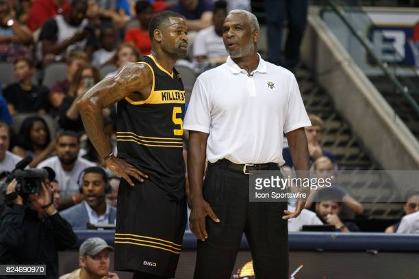 Killer 3s head coach Charles Oakley talks to guard Stephen Jackson during the Big3 basketball game between the Ball Hogs and Killer 3s on July 30 at...