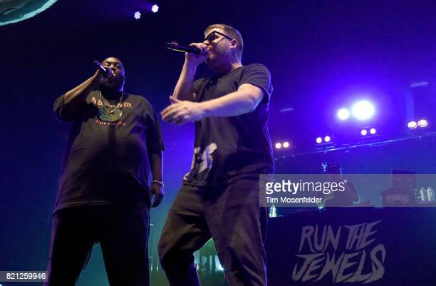 Killer Mike and ElP of Run the Jewels perform in support of their 'RTJ3' release at Bill Graham Civic Auditorium on July 22 2017 in San Francisco...
