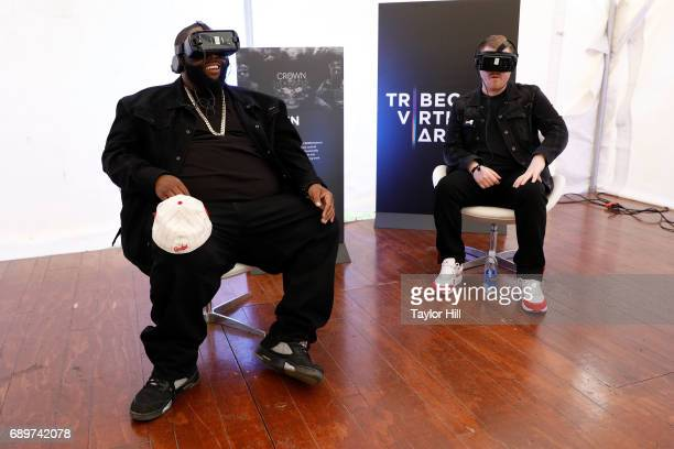 Killer Mike and ElP of Run the Jewels watch their virtual reality video at the Tribeca Virtual Arcade presented by Tribeca Film Festival at the 2017...