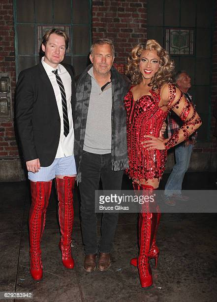 Killian Donnelly as 'Charlie Price' Kevin Costner and Stephane Duret as 'Lola' pose backstage at the hit musical 'Kinky Boots' on Broadway at The Al...