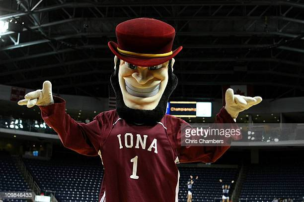 Killian the mascot for the Iona Gaels performs against the St Peter's Peacocks during the final of the MAAC men's conference basketball tournment at...