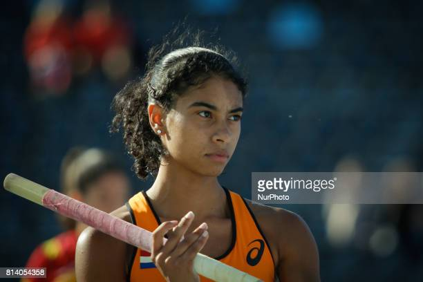 Killiana Heymans from The Netherlands competes in women's pole vault qualification round during the IAAF World U20 Championships at the Zawisza...
