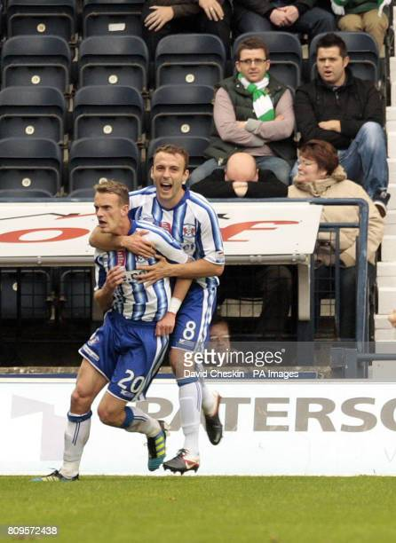 Kilmarnock's Dean Shiels celebrates his goal with Liam Kelly during the Clydesdale Bank Scottish Premier League match at Rugby Park Kilmarnock