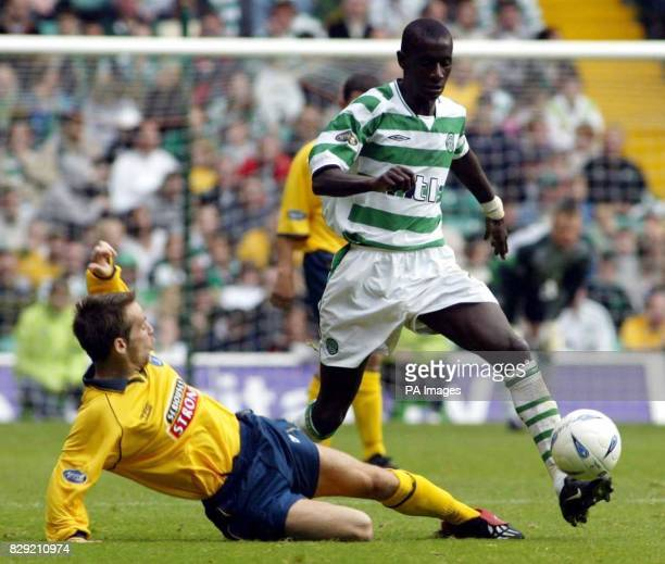 Kilmarnock's Gary Hay and and Celtic's Momo Sylla in action during their Bank of Scotland Premier League match at Celtic Park Final score Celtic 3...