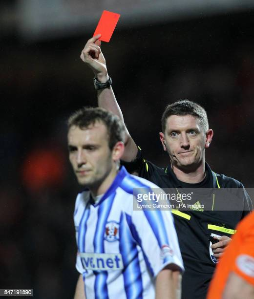 Kilmarnock's Liam Kelly is sent off by referee Craig Thompson during the Clydesdale Bank Scottish Premier League match at Tannadice Stadium Dundee