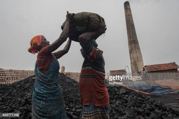 Kiln workers help each other in lifting heavy loads of coal Kamduni West Bengal India 080317 The brick kilns of Bengal employ a large number of...