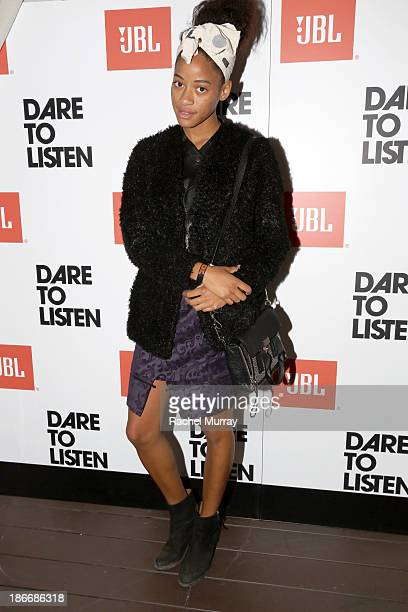 Kilo Kish attends JBL 'Dare to Listen' Synchros S700 Headphone Los Angeles launch with DJ Jermaine Dupri at W Hollywood on November 2 2013 in...