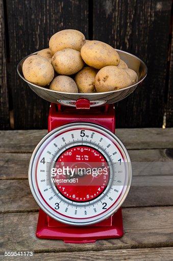 Weighing Potatoes On Scales Measured In Kilograms