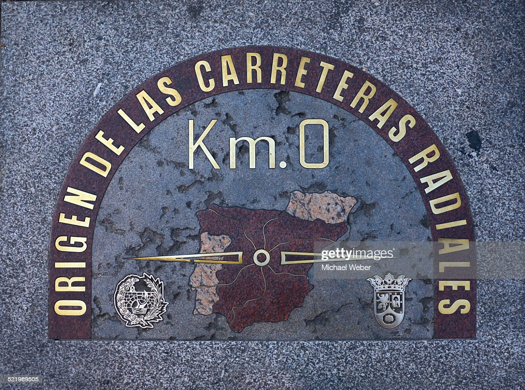 Kilometer zero, zero-point, Plaza Puerta del Sol, Madrid, Spain