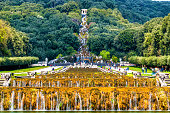 Kilometers-long promenade along cascades at the Palace of Caserta, Italy