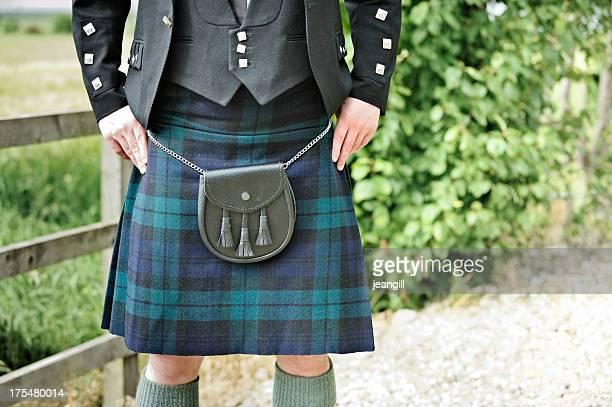 kilt, Escarcelle en peau et highlander veste