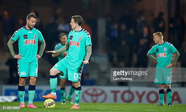 Kim Aabech and Morten Duncan Rasmussen of AGF Aarhus looks dejected during the Danish Alka Superliga match between Esbjerg and AGF Aarhus at Blue...