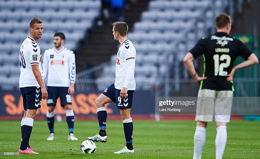 Kim Aabech of AGF Aarhus looks dejected during the Danish Alka Superliga match between AGF Aarhus and Viborg FF at Ceres Park on April 29, 2016 in Aarhus, Denmark.